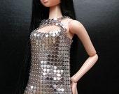 Disco S - Silver Metal Mesh dress for Momoko