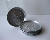 Vintage Manly Geese and Soldiers Aluminum Coasters Set of Eight