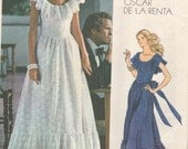Vogue 1043 Vintage 1970s American Designer Oscar de la Renta Evening Bridal Red Carpet Romantic Gown Sewing Pattern  Size 12