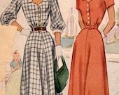 Vintage 1940s McCall 7289 Sweetheart Neckline Dress Pattern Size 14 Bust 32 Uncut