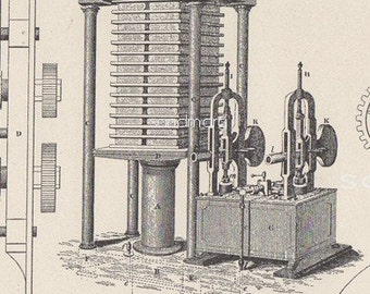 1897 Calender Press Machine Victorian Steel Engraving Print for Framing