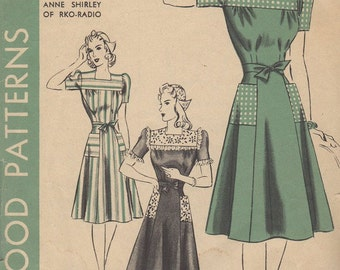 Vintage 1930s Hollywood Patterns 662 Anne Shirley Dress and Dutch Cap Sewing Pattern Size 18 Bust 36