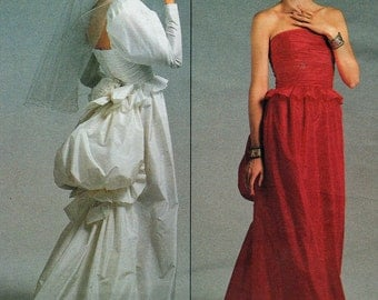 Vintage Vogue 1801 Bellville Sassoon Wedding Dress Red Carpet Bustle Sewing Pattern Size 8 Uncut