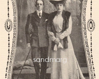 1907 King Alfonso XIII and Queen Victoria of Spain Photogravure Picture to Frame