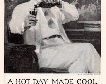 Coca Cola A Hot Day Made Cool 1925 Print Advertisement