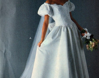 Vogue 2933 Bridal Original Wedding Dress Off Shoulder Dropped Waist Floor or Tea Length Sewing Pattern  Sizes 12-14-16 Uncut