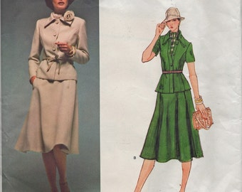 Vintage Vogue Designer Original 1503 Sybil Connolly Suit Jacket Skirt and Scarf Sewing Pattern Size 12 Uncut