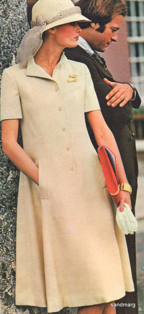 Vintage Vogue 1090 Paris Original Christian Dior Flared Dress Front Buttons Sewing Pattern Size 12
