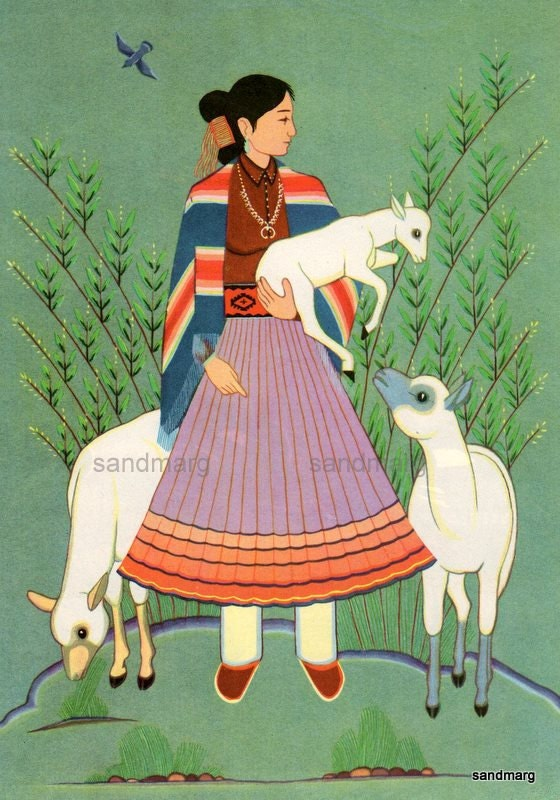 1955 Navajo Girl With Sheep Harrison Begay To Frame