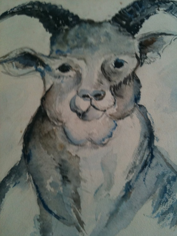 1950s vintage original watercolor painting of a GOAT