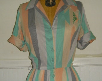 vintage 1950s Pastel Striped Day Dress, size medium to large