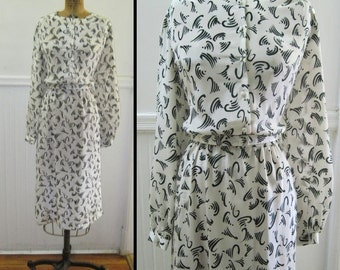 1980s White and Black LANVIN Secretary Dress - vintage size 16, large to extra large l/xl