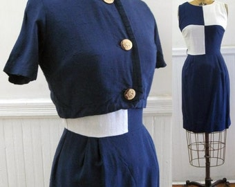 Vintage 60s Navy and White COLORBLOCK Dress with Matching Cocktail Jacket - extra small to small, xs/s