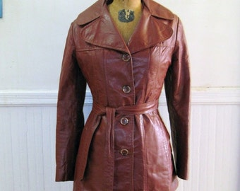 Vintage 1970s Brown Leather Jacket - trench coat, belted jacket, uncover spy - size small to extra small, xs/s