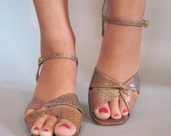 size 7 - 1970s Stuart Weitzman SNAKESKIN Sandals, vintage high heel shoes