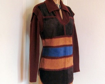 1970s Bohemian Patchwork Sweater with Brown and Blue Suede  - vintage size large, fits like medium to large