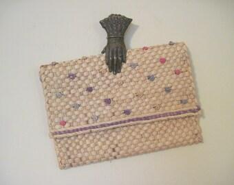Straw & Pastel Love Knots vintage Woven Envelope Clutch