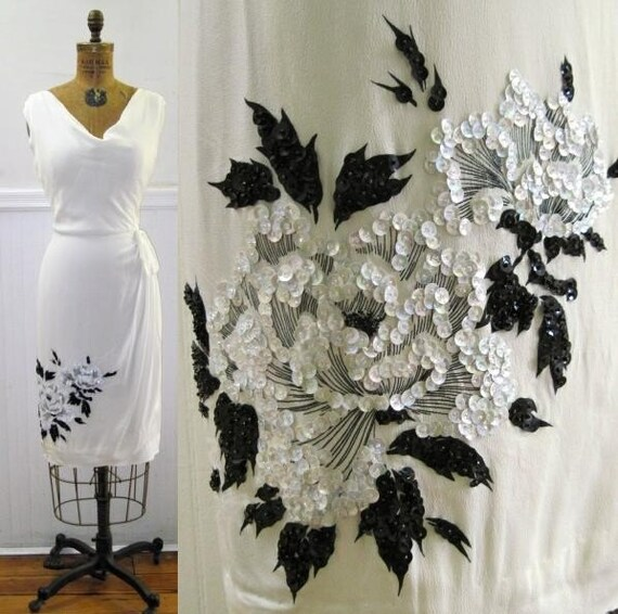 Stunning Vintage White Sequined Hawaiian Bombshell Dress, size small to medium