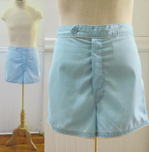 vintage 1960s Sky Blue, White, and Gold Mens Swim Shorts - size 38, large to extra large, l/xl