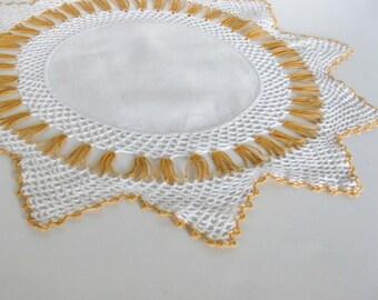 Orange and White Round Starburst Handmade Crochet Doily