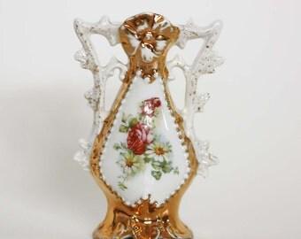 Vintage Shabby Chic Porcelain Bud Vase with Floral Design