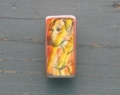 Great Dane Natural Ears Folk Art Domino Magnet hand painted stamped ooak unique