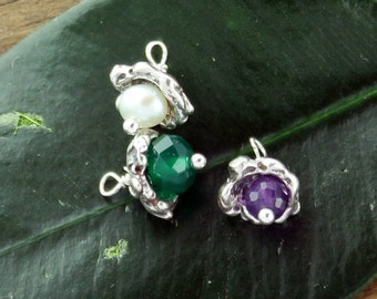 Charm Dangle Flowers THREE Colorful  Sterling Silver