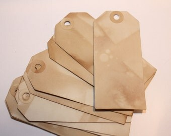 Tea Stained PRICE TAGs 100 Vintage Inspired LARGE 1 7/8 x 4 1/8 Tag with hole reinforcement labels