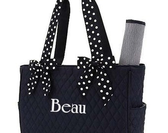 Personalized Diaper Bag Navy Blue White Quilted Monogrammed