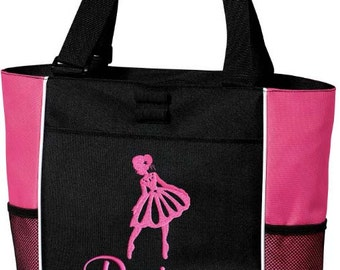 Girls Personalized Ballet Tote Bag Monogrammed Dance Bag Bookbag