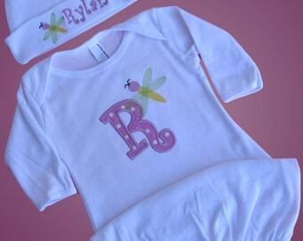 Baby Personalized Gown Hat Set, Dragonfly, Monogrammed Baby Shower Gift, Custom Sleeper Sack Beanie Cap Newborn
