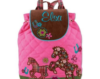 Children Personalized Backpack Horse Stephen Joseph Quilted Monogrammed Toddler Girl