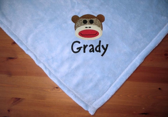 Personalized Baby Blanket Sock Monkey embroidery Free Name