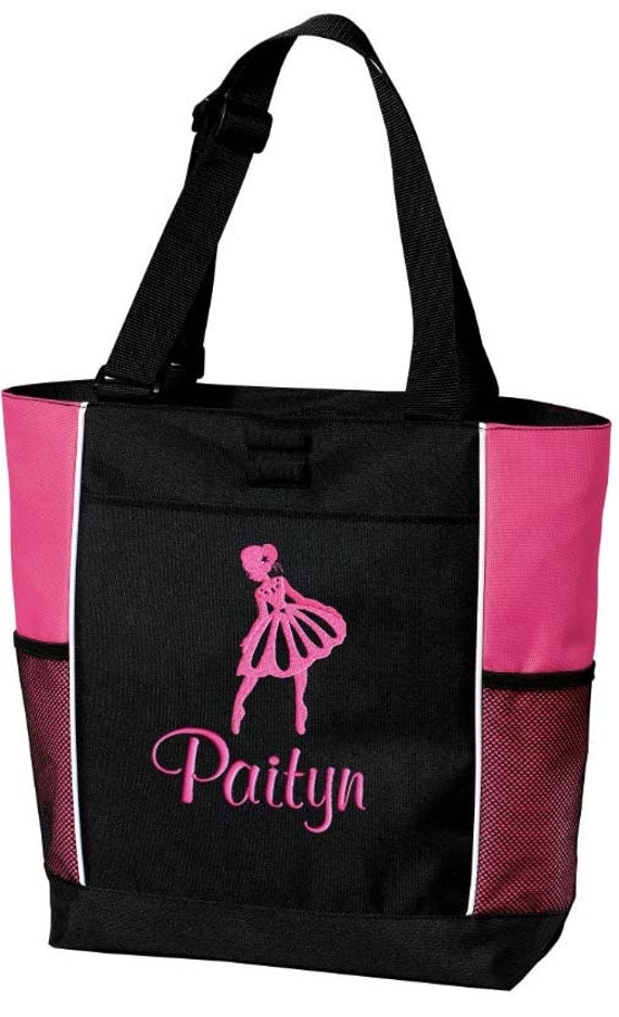 Girls Personalized Ballet Tote Bag Monogrammed Dance Bag