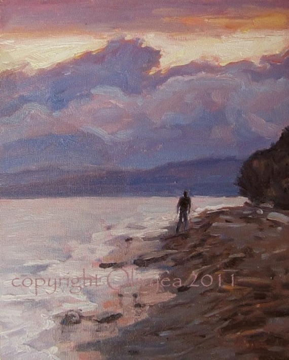 Oil Painting, Beach at Sunset...Impressionistic Landscape, Small Artwork, Ready to Hang... Original 10 x 8