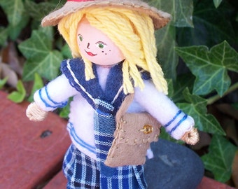 Art Doll Hanging Ornament Back to School Girl in Uniform