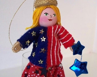 4th of July Art Doll Love my Stars and Stripes Pixie
