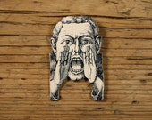 Can You Hear Me Now Brooch - Yelling Man - Yelling Man Brooch - Man - Mannequin - Shrink Plastic - Black and White Image - Hear No Evil