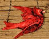 Cardinal Necklace Red Jewelry  Bird Necklace Bird Cardinal  Shrink Plastic - Bird Watcher - Vintage Illustration - Red - Bird Pendant