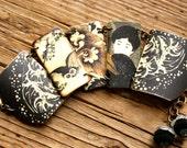 Asian Owl Link Bracelet, Owl Bracelet, Geisha Bracelet, Owl Jewelry, Geisha Jewelry, Shrink Plastic, Black Bracelet, Grey Bracelet