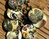 Birds and Flowers Charm Necklace - Charm Necklace - Bird Necklace - Flower Necklace - Shrink Plastic - Birds - Flowers - Charm - Poppy