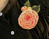 Coral Rose Brooch - Rose Brooch - Rose Pin - Coral Rose - Coral Brooch - Rose Jewelry - Shrink Plastic - Coral - Pink Rose - Pink Jewelry