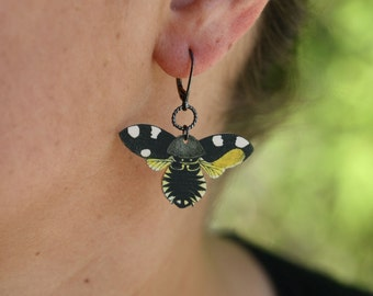 Batik Butterfly Earrings - Butterfly Earrings - Moth - Yellow Earrings - Shrink Plastic - Dangle Earrings - Bee Earrings - Bee Jewelry - Bee