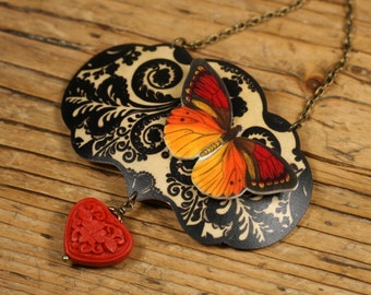 Brocade Necklace - Black and White Jewelry - Red Butterfly - Monarch - Red Heart - Shrink Plastic - Bibb Necklace - Butterfly Pendant