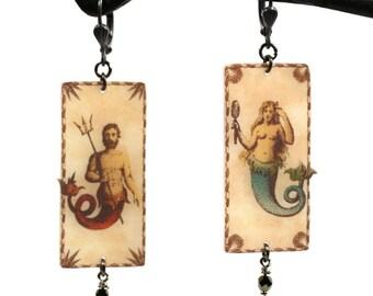 Mermaid Dangle Earrings - Mermaid Earrings - Merman earrings - Mermaid Jewelry - Merman Jewelry - Merman - Mermaid - Siren - Trident - Ocean