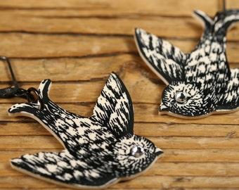 Sparkly Bird Earrings - Bird Earrings - Bird Jewelry - Rhinestone Jewelry - Sparrow Earrings - Sparrow Jewelry - Shrink Plastic - Sparrow