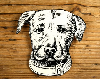 Dog Brooch - Dog Pin- Shrinky Dink Pin - Shrink Plastic Brooch - Dog Jewelry - Mans Best Friend - Black and White Print - Pit Bull - Animal