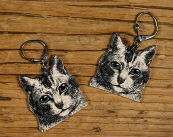 Cat Earrings - Dangle Earrings - Cat Jewelry - Meow - Kitty - Cat - Shrink Plastic - Vintage Print - Illustration - Gift - Made in USA