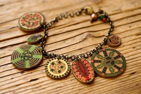 Green Medallion Charm Bracelet - Cranberry - Olive - Charm Bracelet - Green Jewelry - Shrink Plastic - Medallions - Boho Bracelet - Folk
