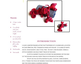Lobster Crochet Pattern: Yarn Louis Lobster Amigurumi Toy Crochet Pattern (PDF)in Worsted Weight Yarn - Designed by The Silver Hook